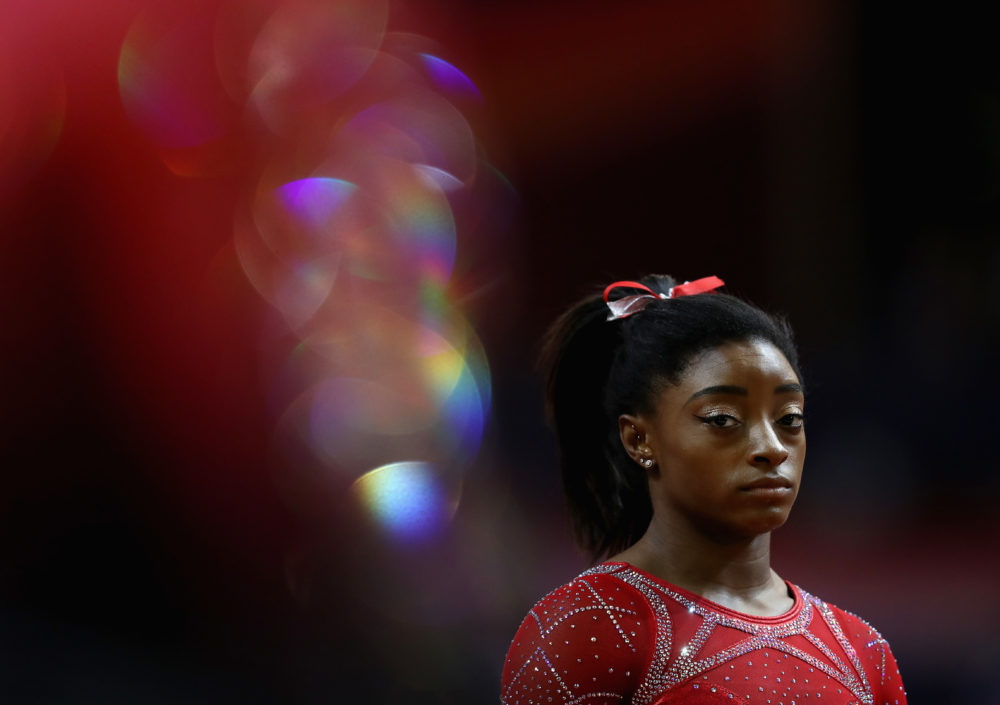 USA Gymnastics star Simone Biles at the 2018 FIG Artistic Gymnastics Championships. (Francois Nel/Getty Images)