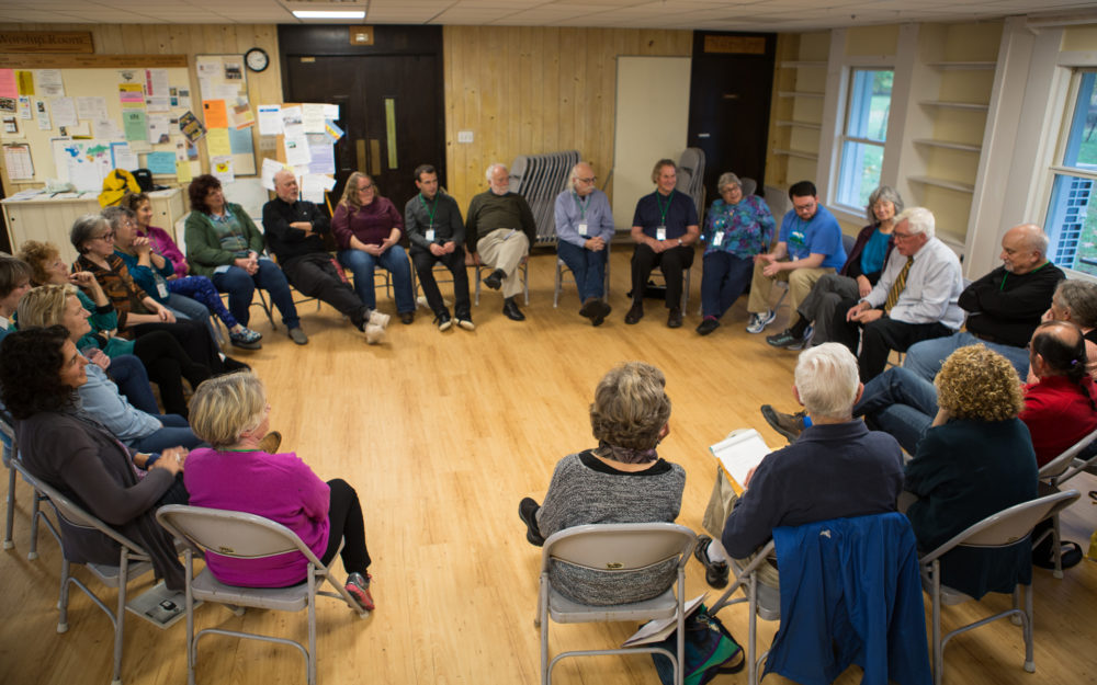 A facilitated dialogue session at the Hands Across the Hills location in Leverett, Mass., in October 2017. (Chana Rose Rabinovitz/Courtesy of Hands Across the Hills)