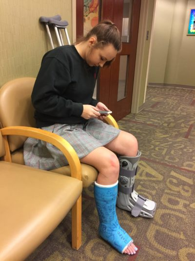 Alex after having two ankle surgeries. (Courtesy Richard Blackwell)