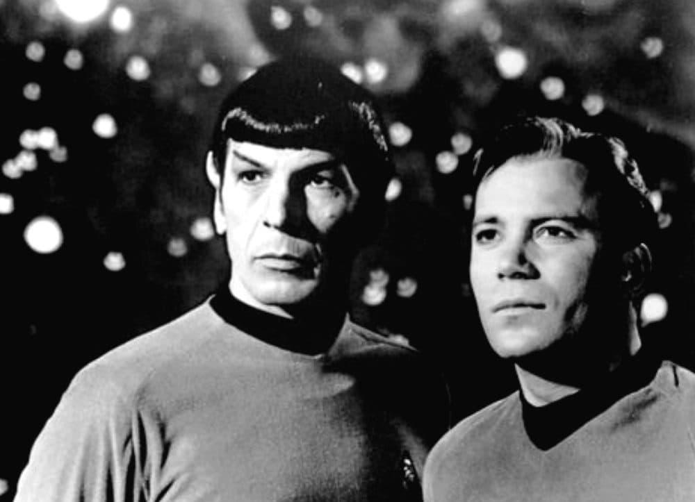 Leonard Nimoy (left) as Star Trek's Mr. Spock. (Public Domain)
