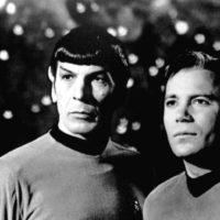 Leonard Nimoy (left) as Star Trek's Mr. Spock. (Public Domain)