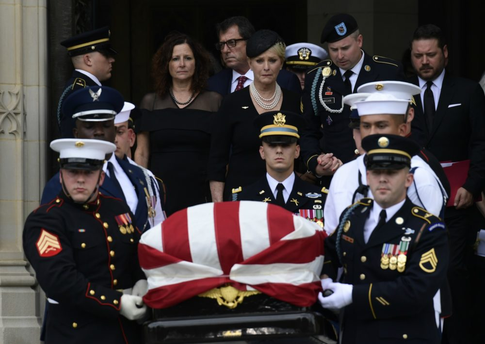 The casket of Sen. John McCain, R-Ariz., arrives at the Washington National Cathedral in Washington on Sept. 1, 2018, for a memorial service. McCain died from brain cancer at age 81. (Susan Walsh/AP)