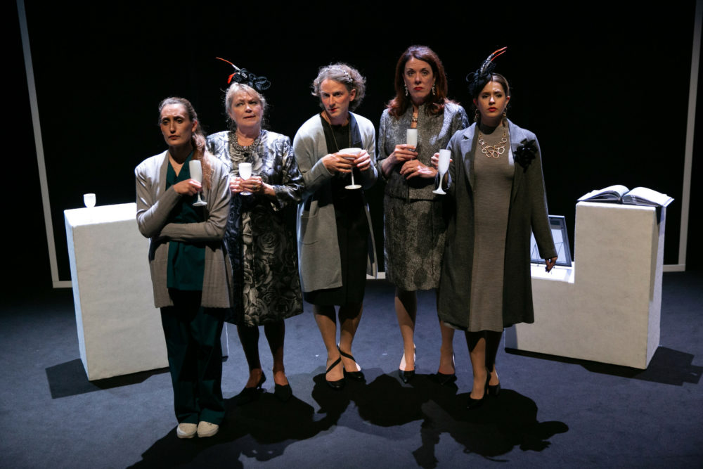 "Siobhan Carroll, Karen MacDonald, Ryan Winkles, Maureen Keiller, and Sarah Mass in ""Here We Go"" (Courtesy Evgenia Eliseeva)"