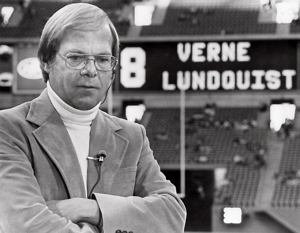 Verne Lundquist prepares for a live shot for WFAA-TV at Texas Stadium, August 1982. (Courtesy William Morrow)