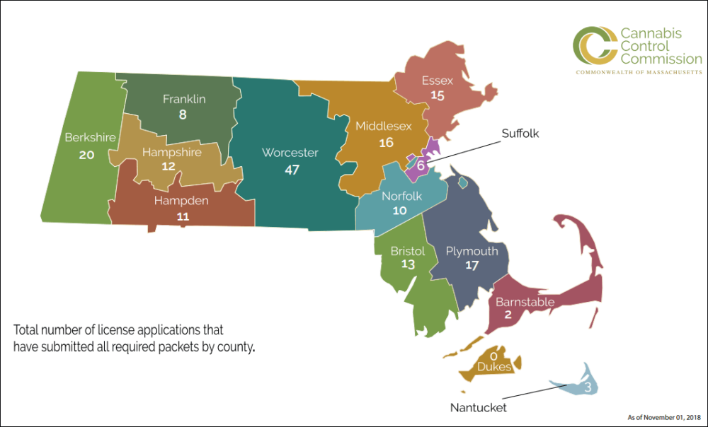 Marijuana business applications, by county (Courtesy of the CCC)