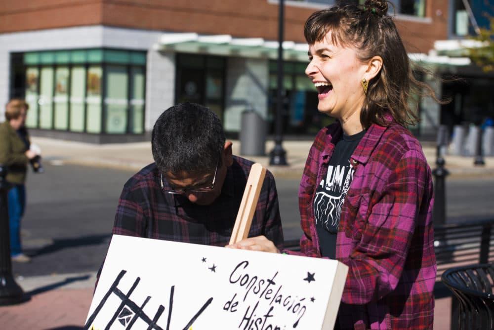 "People participate in telling stories about East Boston for ""Constelación de Historias."" (Courtesy Cullen Granzen)"