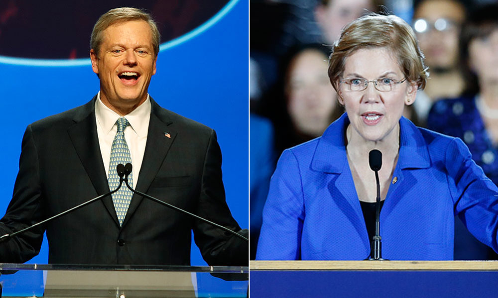 Gov. Charlie Baker and U.S. Sen. Elizabeth Warren, after their respective re-election wins (Winslow Townson and Michael Dwyer/AP)