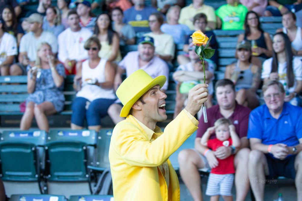 Jesse Cole has worn a yellow tuxedo to every Savannah Bananas game. (Courtesy Jesse Cole)