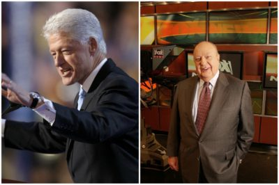 Former President Bill Clinton, left, alongside the late Fox News CEO Roger Ailes. (Charlie Neibergall, File/AP and Jim Cooper, File/AP)