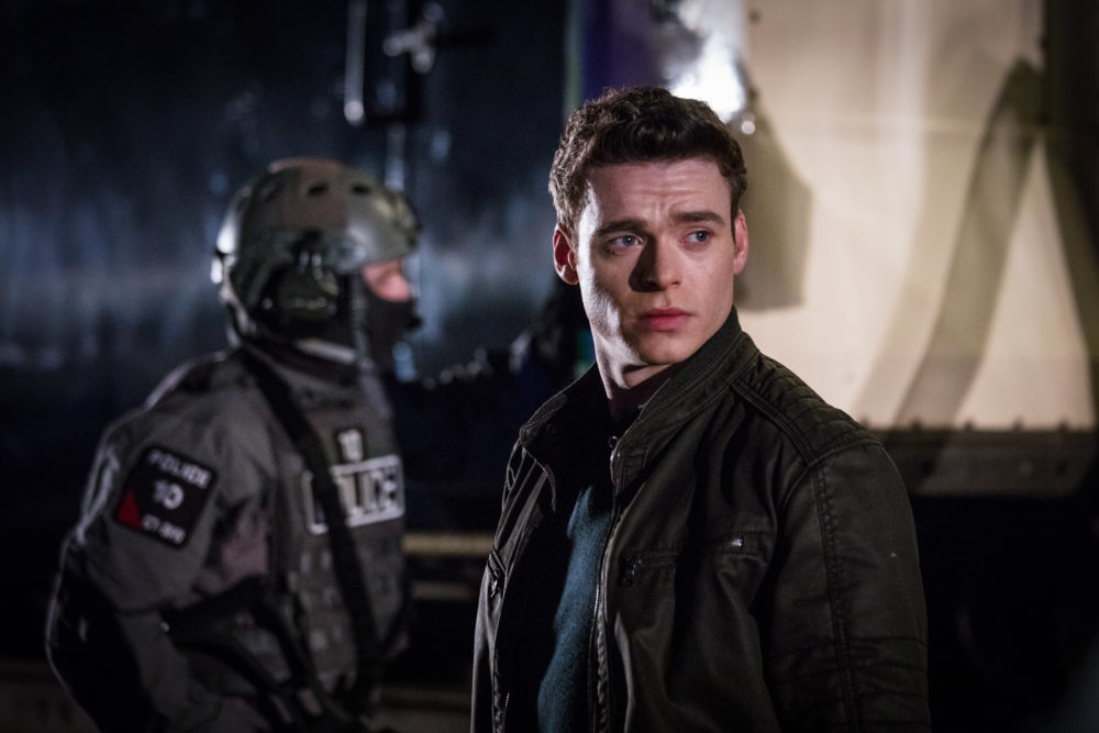 "Richard Madden stars as agent for the Royalty and Specialist Protection Branch of London's Metropolitan Police Service in ""Bodyguard."" (Sophie Mutevelian/World Productions/Netflix)"
