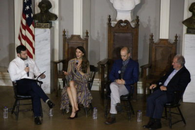 "Ben Brock Johnson, Kelly Horan, Jack Rodolico and Stephen Kurkjian at the ""Last Seen"" Live event at Faneuil Hall in Boston. (Jace Ritchey for the Boston Globe)"