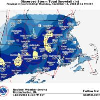 Snow totals as of 11 p.m. Thursday (National Weather Service)