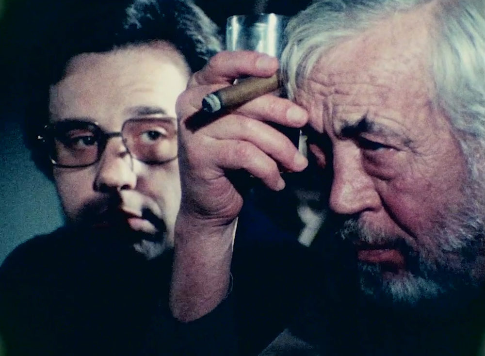 """Peter Bogdanovich and John Huston in Orson Wells' """"The Other Side Of The Wind."""" (Courtesy Netflix)"""