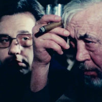 "Peter Bogdanovich and John Huston in Orson Wells' ""The Other Side Of The Wind."" (Courtesy Netflix)"