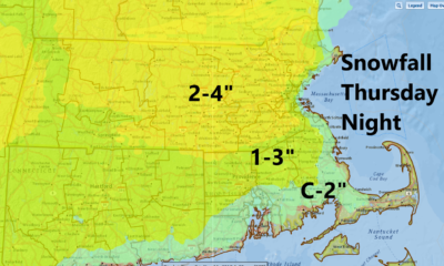 2-4 inches of snow is likely in many areas Thursday night.  (Dave Epstein/WBUR)