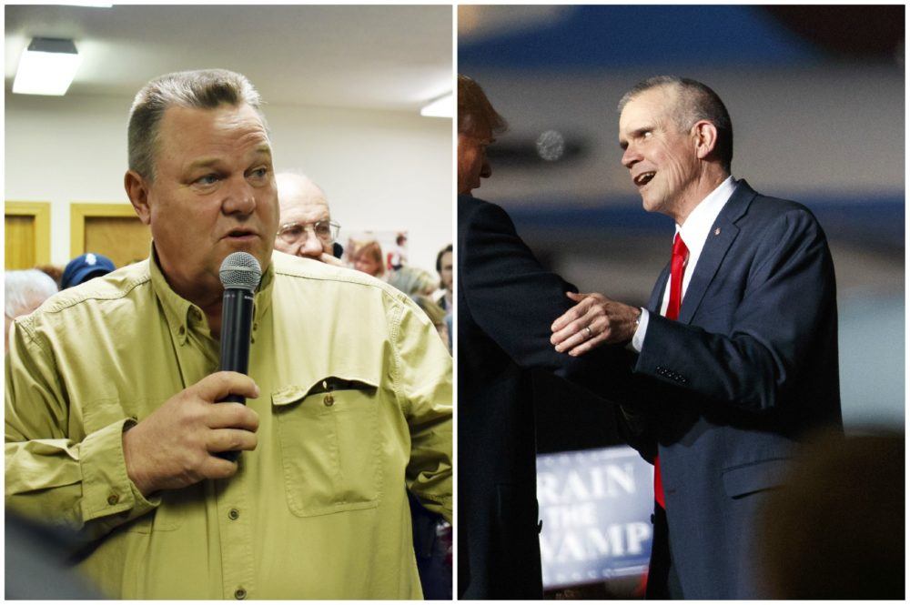 Montana Candidates for U.S. Senate, Democrat Jon Tester, left, and Republican Matt Rosendale, right. (Matthew Brown/AP and Carolyn Kaster/AP)