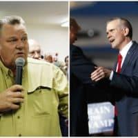 Montana Candidates for U.S. Senate, Democrat Jon Tester, left, and Republican Matt Rosendale, right. (Matthew Brown/AP and Carolyn Kaster/AP)