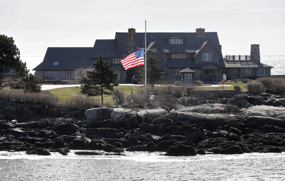 A U.S. flag flies at half-staff at Walker's Point, the summer home of the President George H. W. Bush and former first lady Barbara Bush, Wednesday, April 18, 2018, in Kennebunkport, Maine. Barbara Bush died Tuesday, April 17, 2018, in Houston. (Robert F. Bukaty/AP)