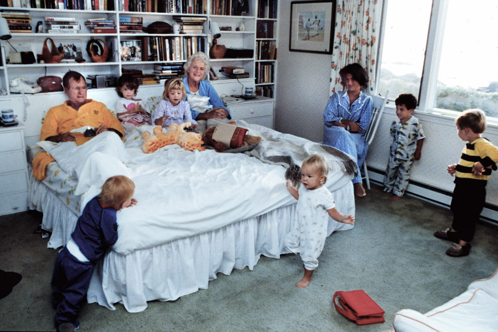 Vice President George H.W. and Barbara Bush with some of their grandchildren at their home in Kennebunkport, Maine, in 1987. (Courtesy of David Valdez)