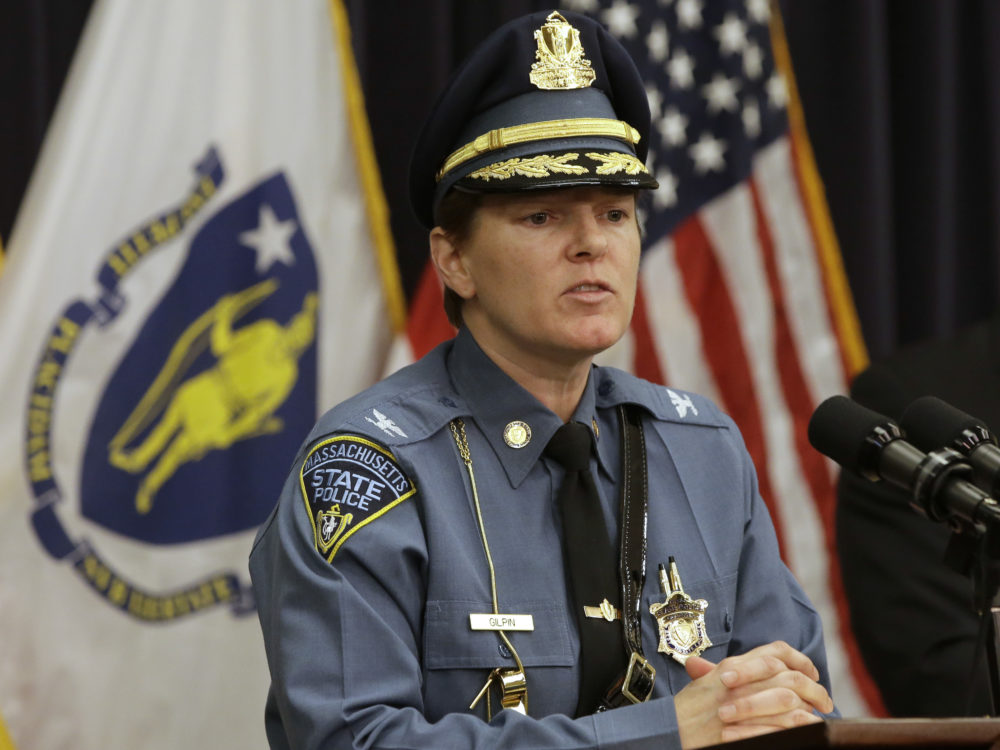 Massachusetts State Police Col. Kerry Gilpin faces reporters during a news conference in April. (Steven Senne/AP)