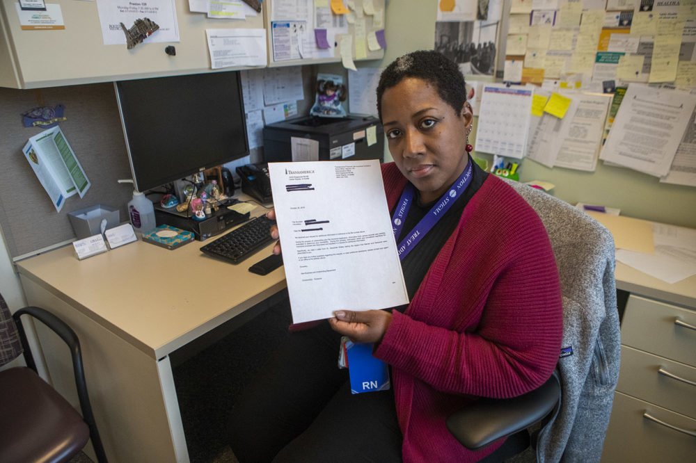 Isela was denied life insurance because her medication list showed a prescription for the opioid-reversal drug naloxone. The Boston Medical Center nurse says she wants the drug to save others. (Jesse Costa/WBUR)