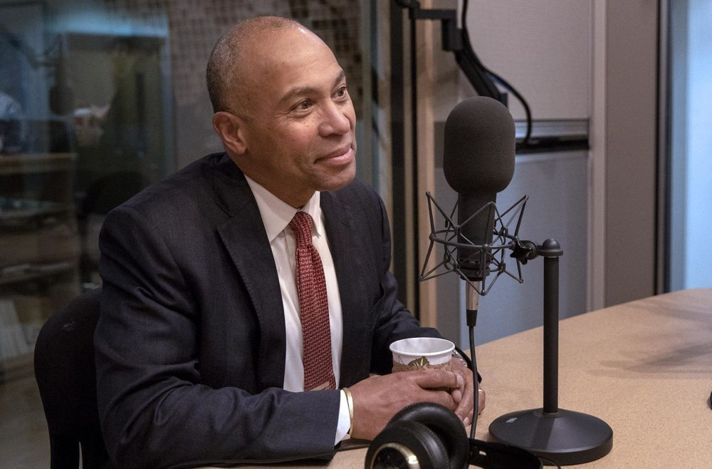 Former Massachusetts Gov. Deval Patrick talks with Bob Oakes at WBUR. (Robin Lubbock/WBUR)