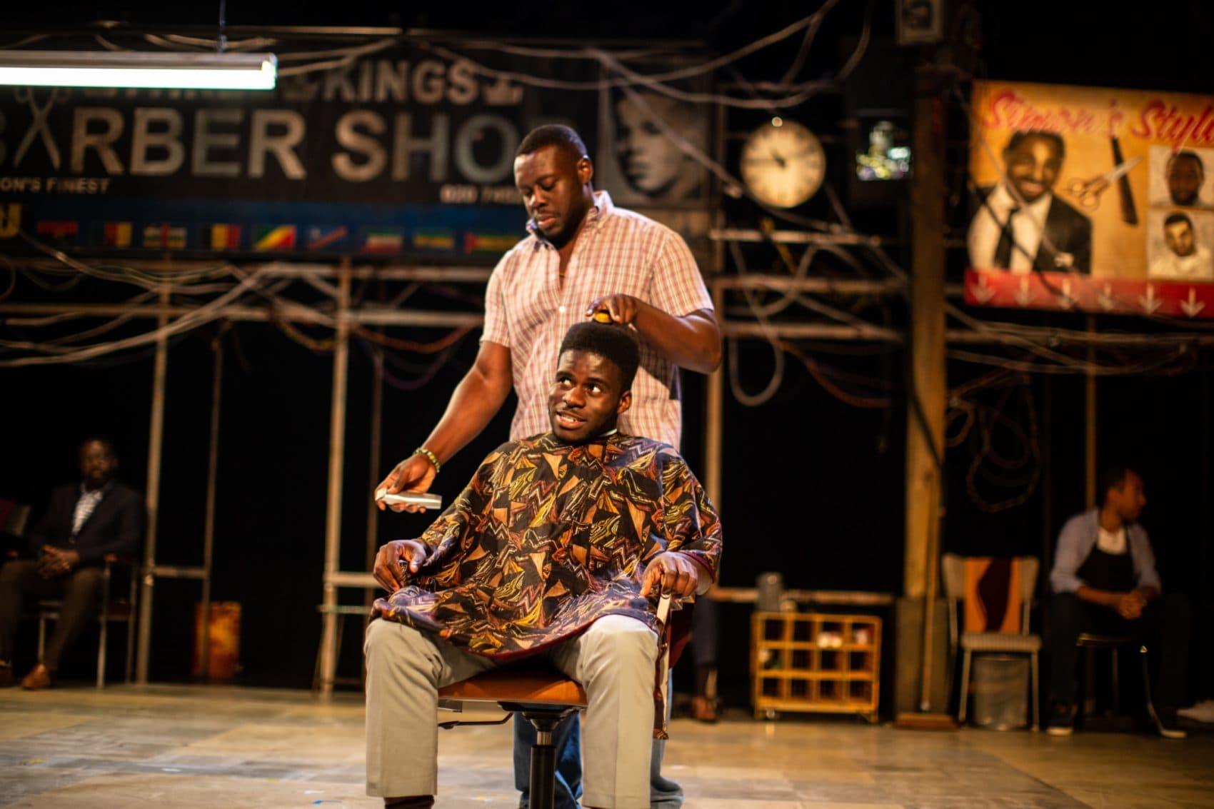 """Ekow Quartey and Kenneth Omole in """"Barber Shop Chronicles."""" (Courtesy Ryan Hartford)"""