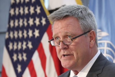 Scott Blackmun, CEO of the U.S. Olympic Committee, speaks at Yongsan Garrison, a U.S. military base in Seoul, South Korea in 2017. (Lee Jin-man/AP)