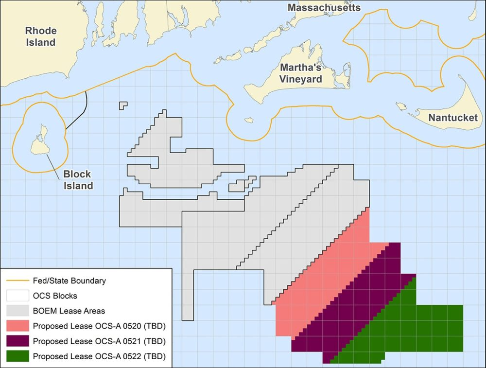 The lease areas being auctioned are 20 nautical miles from Martha's Vineyard. (Bureau of Ocean Energy Management)