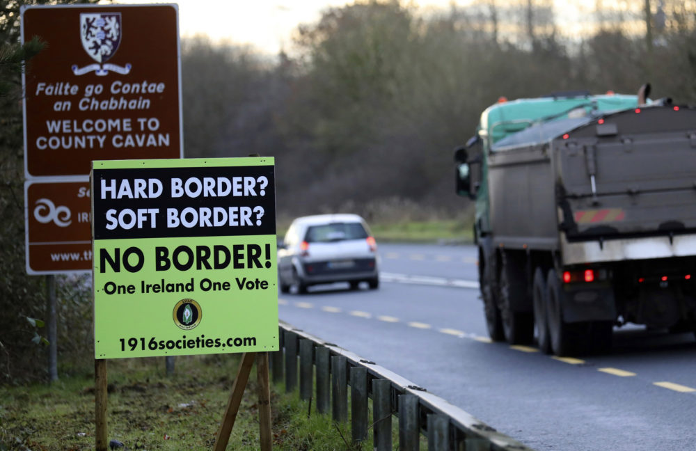 A poster against a hard border stands on the border between Northern Ireland and the Republic of Ireland near the town of Derrylin, Northern Ireland, Dec. 12, 2018. (Peter Morrison/AP)