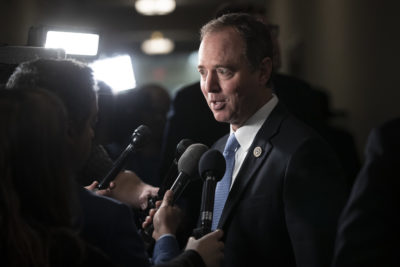 Rep. Adam Schiff, D-Calif., expected to become chairman of the House Intelligence Committee, speaks with reporters as he arrives for Democratic leadership elections on Capitol Hill in Washington, Nov. 28, 2018. (J. Scott Applewhite/AP)