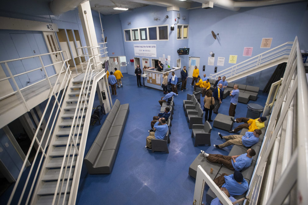 Inside the addiction treatment unit at the Hampden County Jail in Ludlow. It's known as the Stonybrook Stabilization and Treatment Center. (Jesse Costa/WBUR)
