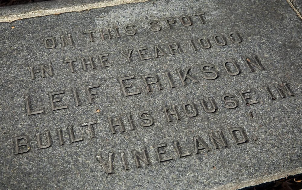"The plaque near the Charles reads ""On this spot in the year 1000 Leif Erikson built his house in Vineland."" (Robin Lubbock/WBUR)"