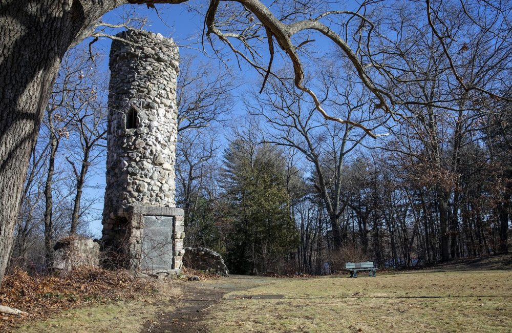 "Seen here is Norumbega Tower, on Norumbega Road in Weston, which mentions the Charles River, ""discovered by Leif Erikson, 1000 A.D."" (Robin Lubbock/WBUR)"