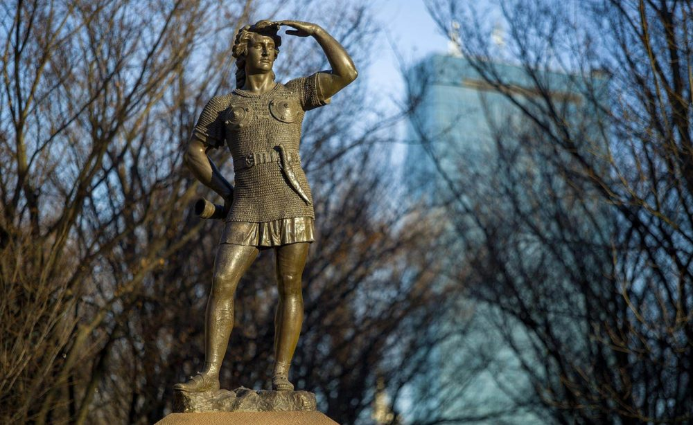 A statue of Leif Erikson looks out across the Muddy River in Charlesgate Park in Boston. (Robin Lubbock/WBUR)