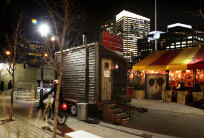 """The """"Sweat It Out"""" pop-up sweat lodge in the Seaport. (Courtesy Lani Asuncion)"""