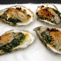 Oysters with creamed spinach and Parmesan-panko crust, by chef Kathy Gunst. (Robin Lubbock/WBUR)