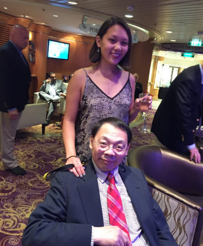 Shirley Wang and her father, Lin Wang, pose for a photo on a cruise together. (Courtesy Shirley Wang)