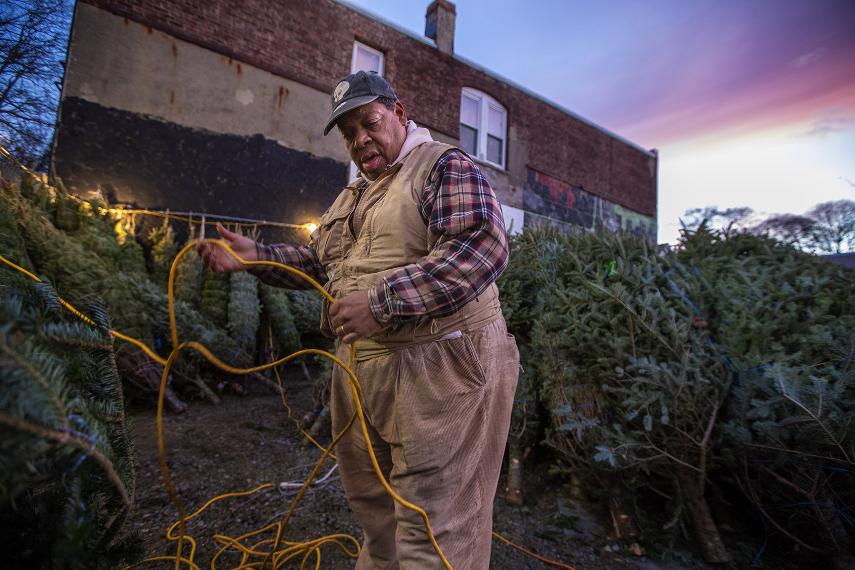 Dannie Kelly is surrounded by Christmas trees as he prepares to open his lot in Four Corners for this holiday season. (Jesse Costa/WBUR)