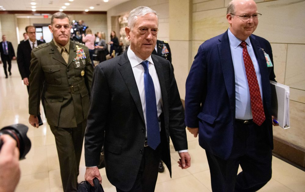 Defense Secretary Jim Mattis arrives to brief House members on Yemen, Saudi Arabia and the murder of Saudi critic Jamal Khashoggi at the Capitol in Washington, D.C., on Dec. 13, 2018. (Mandel Ngan/AFP/Getty Images)