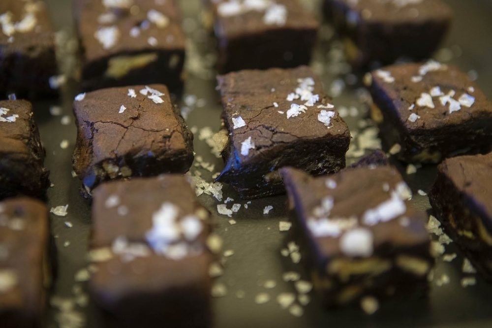 "Best cocoa brownies, by Alice Medrich, from the book ""Food52 Genius Desserts."" (Jesse Costa/WBUR)"