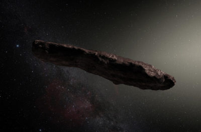 An artist's impression of ʻOumuamua, the first known interstellar object to pass through the solar system. (ESO/M. Kornmesser via Wikimedia Commons)