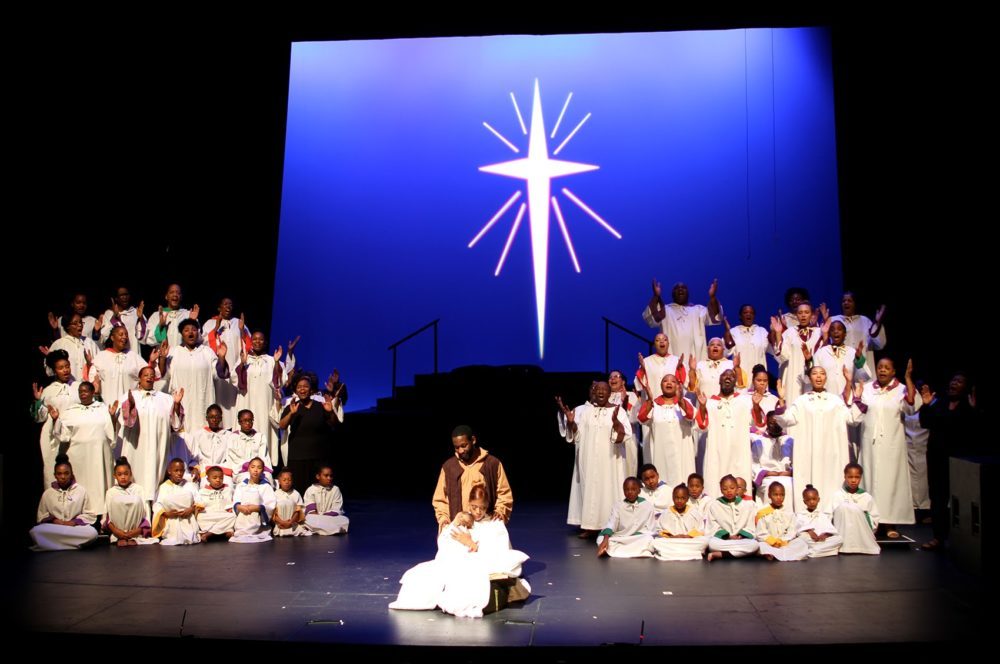 "The cast of Boston's ""Black Nativity"" in 2016. (Hadley Green for WBUR)"