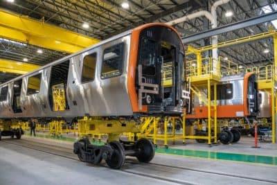 The first pair of new MBTA Orange Line cars were unveiled Dec. 18, 2018. (Courtesy MBTA)