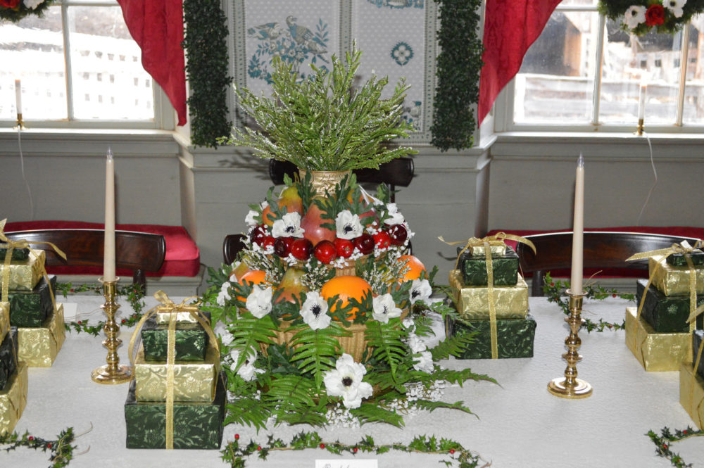 A Christmas tree tablescape in Old Sturbridge Village. (Courtesy)