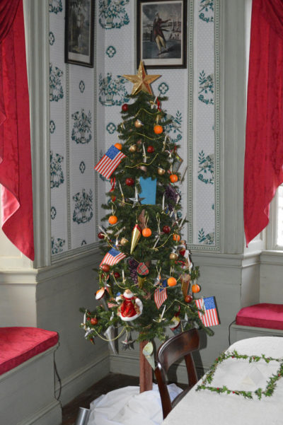 A Christmas tree on display in Old Sturbridge Village. (Courtesy)