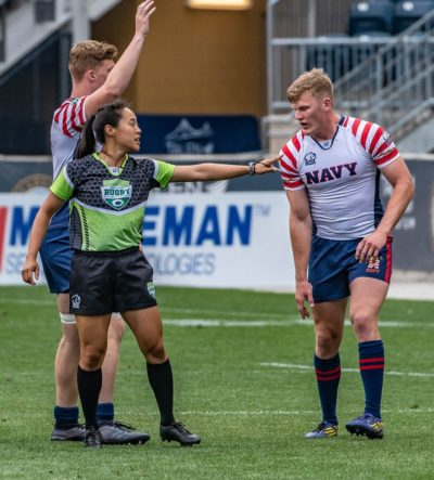 Emily reffed the Collegiate Rugby Championship in June 2018. (Colleen McCloskey/Courtesy Emily Hsieh)