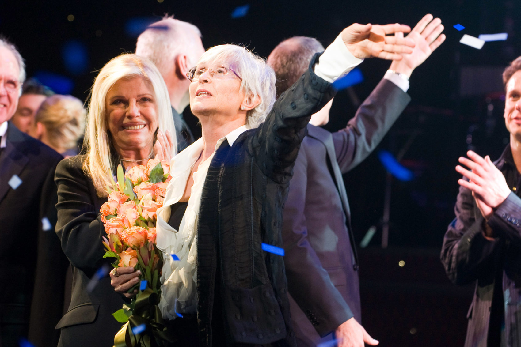 Nancy Sinatra and Twyla Tharp appear at the curtain call for the opening night performance of the Broadway musical 'Come Fly Away' in New York, Thursday, March 25, 2010. (AP Photo/Charles Sykes)