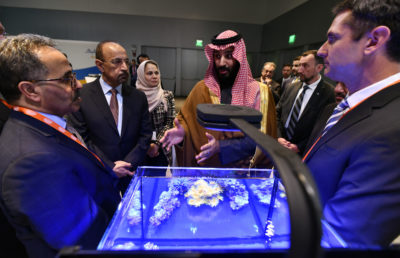 Crown Prince Mohammed bin Salman tours an innovation gallery of Saudi Arabian technology, including an exhibit by King Abdullah University of Science and Technology, during a visit to Massachusetts Institute of Technology on March 24. (Josh Reynolds/AP Images for KAUST)