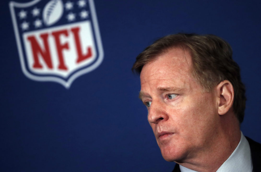 In this May 23, 2018, file photo, NFL commissioner Roger Goodell listens during a news conference in Atlanta. (John Bazemore/AP)